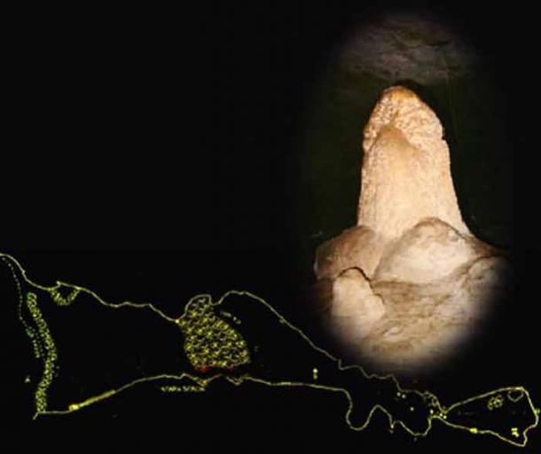 Salagmite phallus and map of the Nakovana cave. (Nakovana.com)
