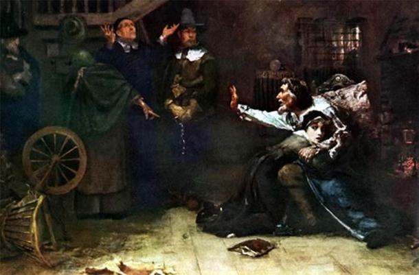 """The 1692 Salem witch trials were a moral catastrophe that gripped the English colony of Massachusetts, as depicted in the oil painting entitled """"Accused of Witchcraft"""" by Douglas Volk. (Public domain)"""