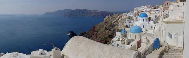 Panoramic view of the Santorini caldera, taken from Oia.