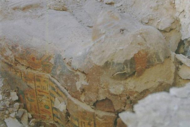 The newly-unearthed sarcophagus found in Qurnet Marej in Luxor, Egypt