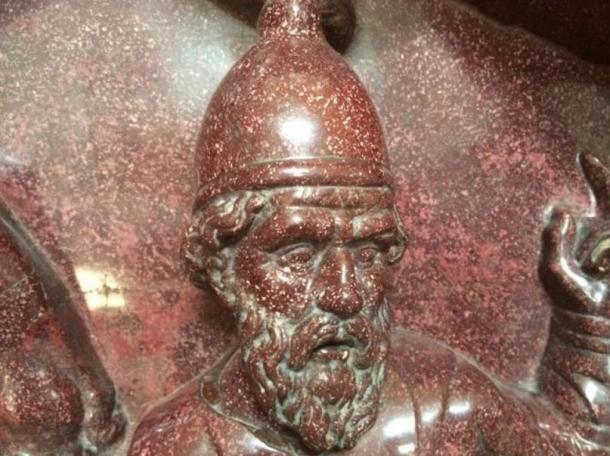 A detail from the 4th century sarcophagus of St. Helena, Roman Emperor Constantine's mother, carved in Imperial porphyry.