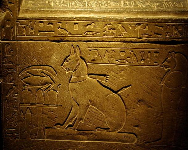 The sarcophagus of the cat of the Crown Prince Thutmose, the eldest son of Amenhotep III and Queen Tiye.