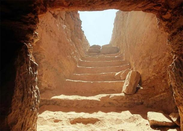 Entrance of the newly discovered tomb, where the leopard painting on the sarcophagus was found. (University of Milan)