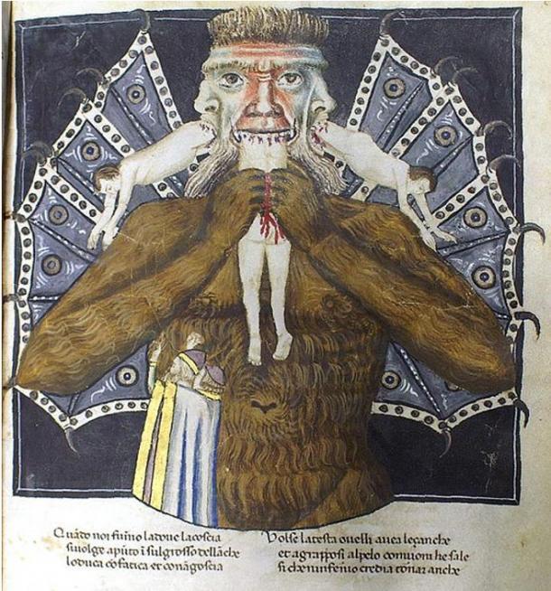 Satan devouring three men (14th century)