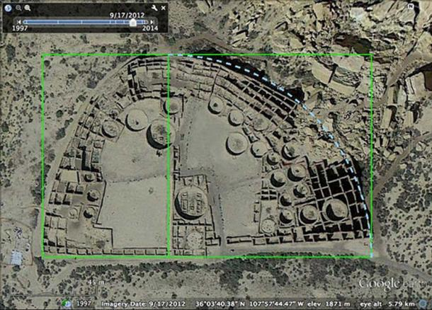 A satellite photo of the Pueblo Bonito archaeological site in Chaco Culture National Historic Park, New Mexico, USA with illustrations demonstrating some of its geometrical properties.