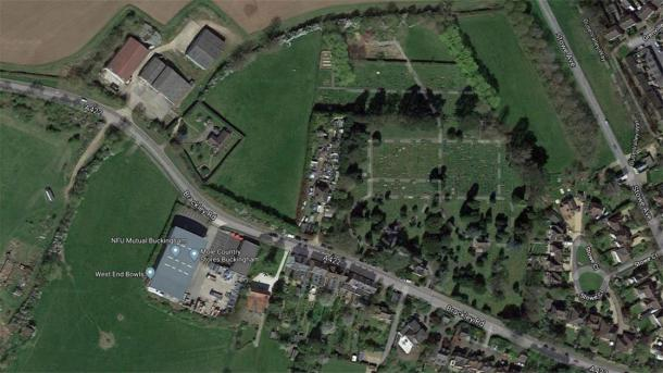 A satellite view of the site where the skeletons were found, at a farm near a graveyard (top center). (Google Maps)