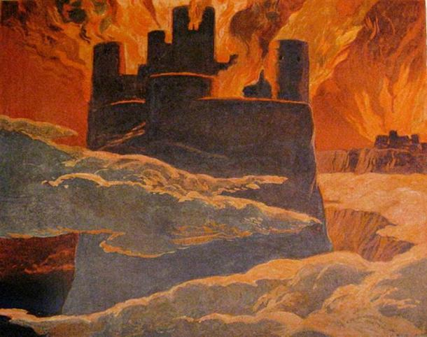 A scene from the last phase of Ragnarök, after Surtr has engulfed the world with fire.