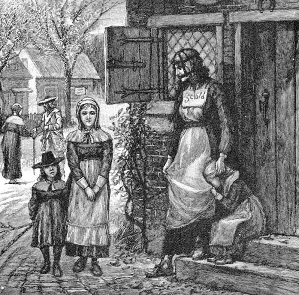 1885 Engraving of a scold's bridle and New England street scene.