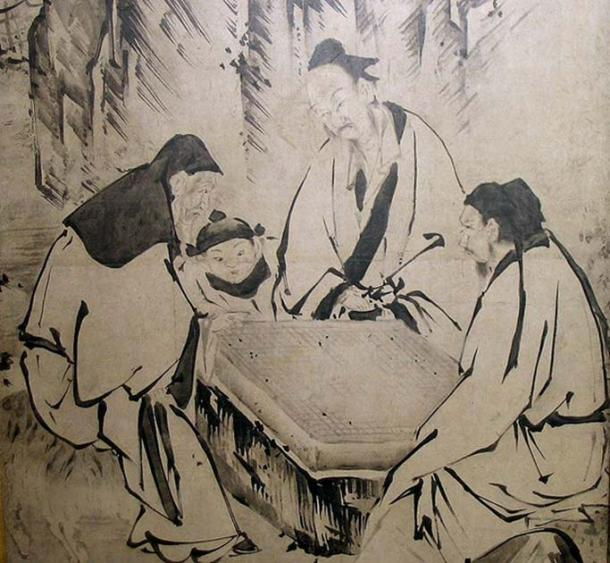 A screen painting depicting people of the Ming Dynasty playing Go, by Kanō Eitoku.