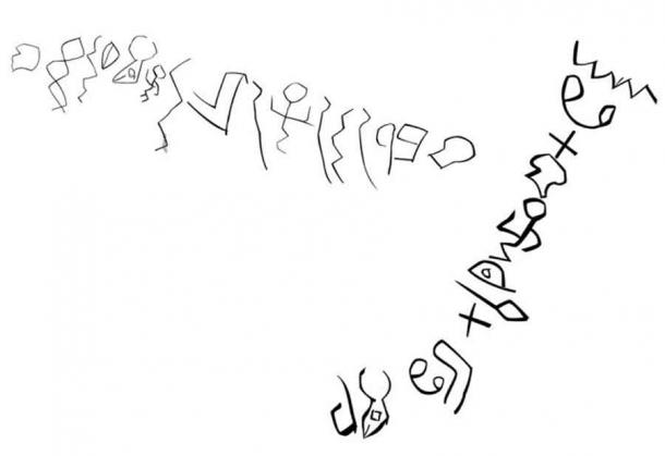 Like the Serabit script above, this proto-alphabetic script, also dated to the 19th century BC, was found inscribed in rocks at a site in the western Egyptian desert known as Wadi el-Hol. (Public domain)