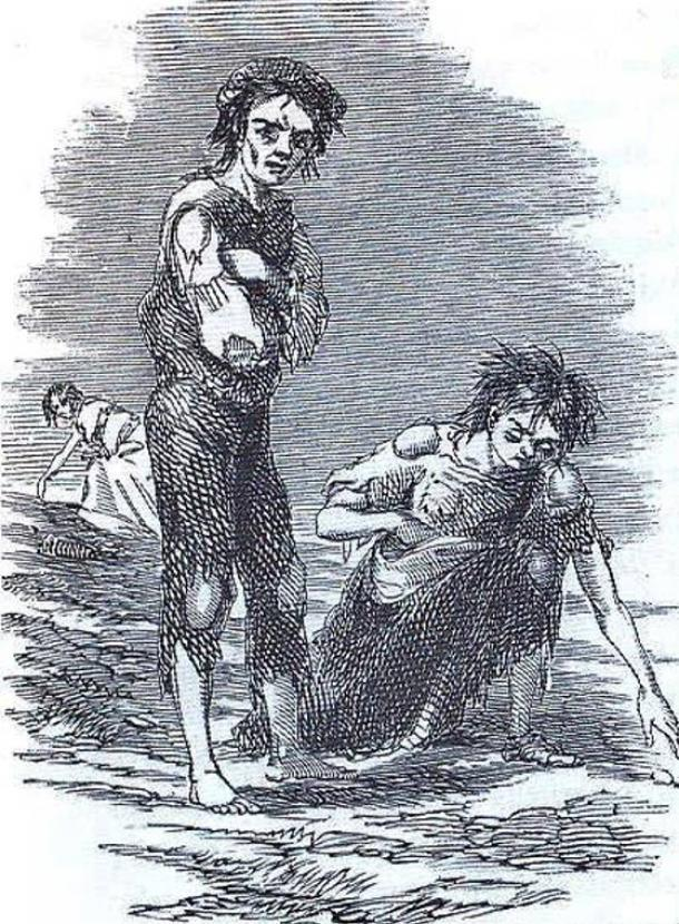 Illustration of scrounging for food during the famine. (1810–1879)