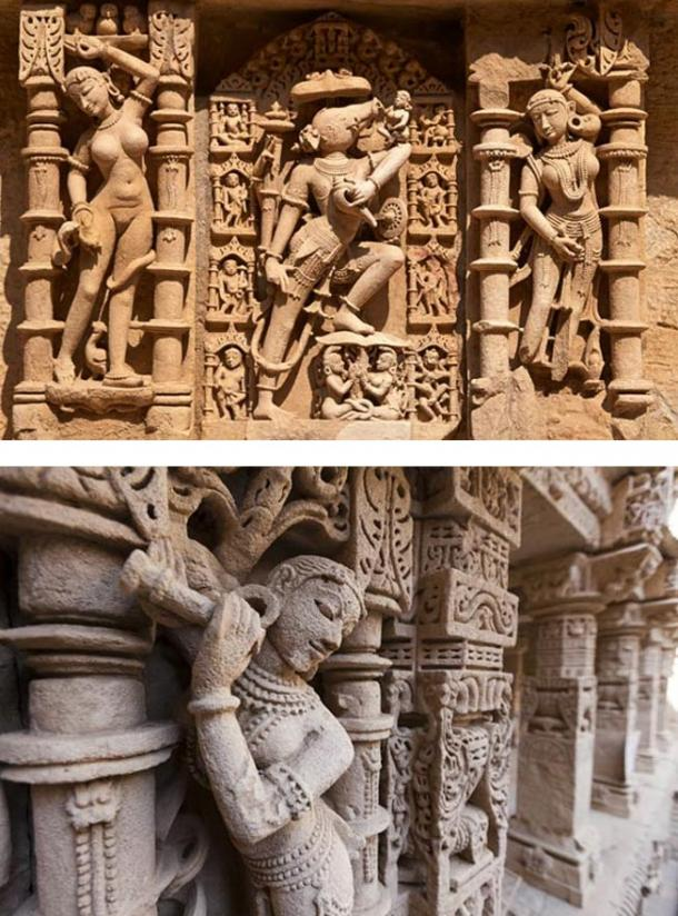 The magnificent sculptures of the Rani-Ki-Vav remained well preserved over centuries after being buried under silt.
