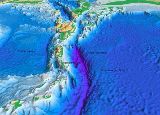 Vista en perspectiva del fondo del mar del océano Atlántico y el mar Caribe.
