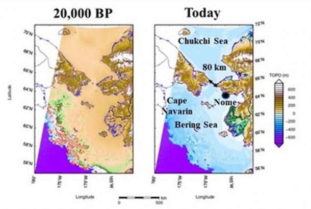The sea level in the Bering Strait at the Last Glacial Maximum (20,000 years ago) versus today. Note the intricate archipelago that was present in the past but not today. Its islands (outlined  in red left image, lower left) might have served as stepping stones for the first settlers crossing from Asia to North American (Image: Jerry Dobson/Geographical Review)