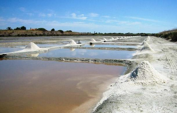 Example of a sea salt harvest in Île de Ré, France.
