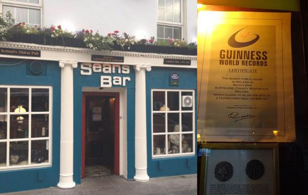 Sean's Bar in Athlone, has its claim to be the oldest public house in Ireland recognized by Guinness World Records