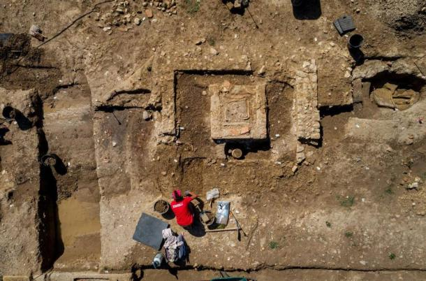 Aerial view of a section of the Roman necropolis found in Narbonne, France