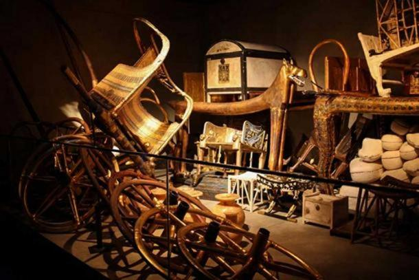 Just a small selection of the thousands of treasures found hastily stacked inside King Tut's burial chamber.