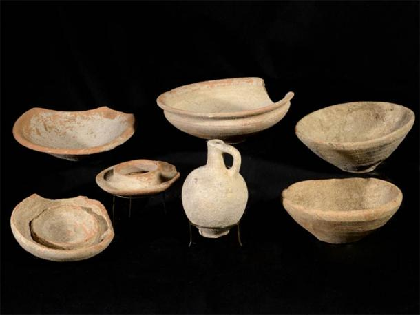 A selection of the 3,200-year-old bowls found at the site. (Image: Dafna Gazit, Israel Antiquities Authority)