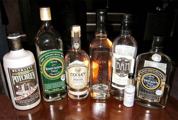 A selection of legal Irish and Celtic poitin or poteen bottles. Source: Ethanbentley / CC SA-BY 3.0