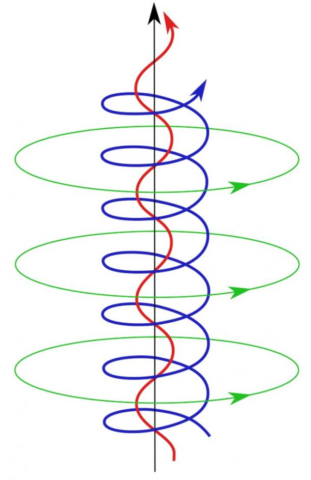 The self-constricting magnetic field lines and current paths in a Birkeland current.