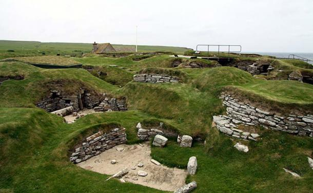 Old settlement Skara Brae in 2012, Orkney Island, Scotland.