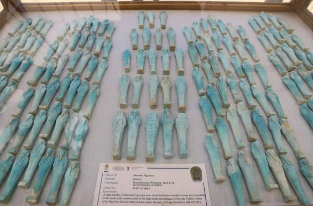 Dozens of shabti figurines unearthed in the burial shaft.