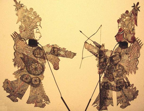 Chinese shadow theater figures.