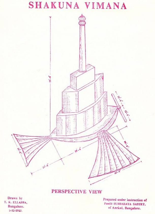 An illustration of the Shakuna Vimana that is supposed to fly like a bird with hinged wings and tail.