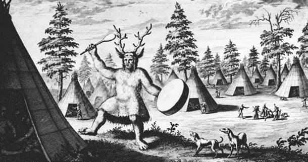 An illustration of a shaman in Siberia, produced by the Dutch explorer Nicolaes Witsen in the late 17th century.
