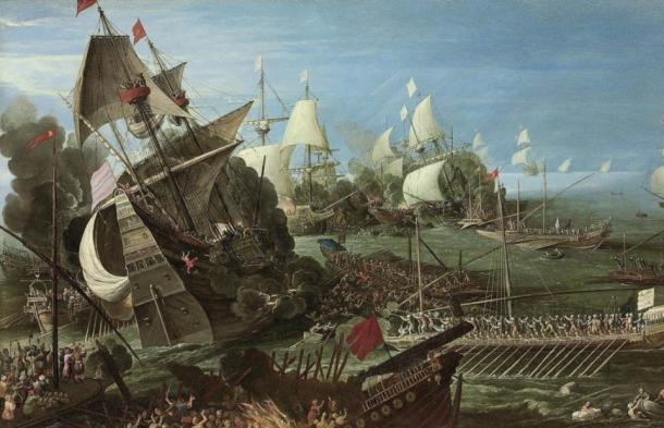 The ships with oars, or galleys, in Andries van Eertvelt's painting 1622 painting The Battle of Lepanto, may be similar to the type of galley Miguel de Cervantes rowed on as a slave.