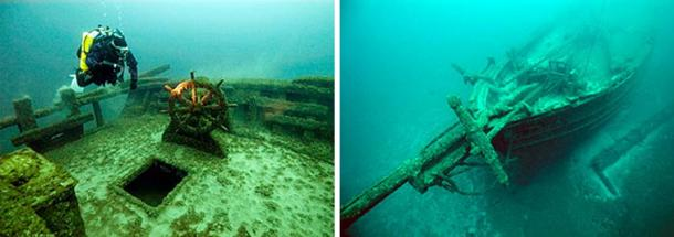 One of the shipwrecks in Lake Michigan visited by divers, the F. T. Barney, 1856