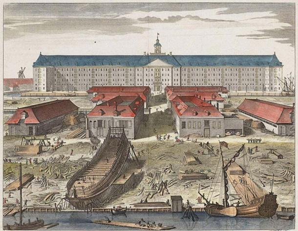 The shipyard of the Dutch East India Company in Amsterdam around 1750.