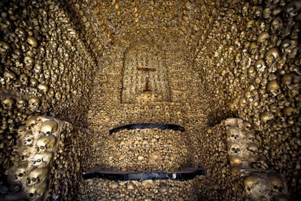 A shrine of skulls at the other Portuguese Capela dos Ossos in Faro.