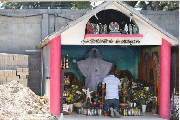 A shrine dedicated to Santa Muerte