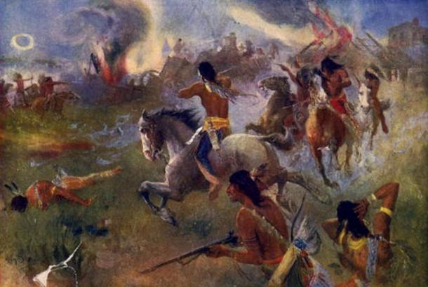 """""""The siege of New Ulm, Minn."""", a painting by Henry August Schwabe. It depicts an attack on New Ulm on August 19, during the Dakota War of 1862"""