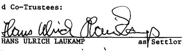 A copy of the signature of Hans Ulrich Laukamp (September 1997), as found online by LiveScience.