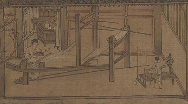 13th century depiction of people weaving silk by Liang Kai.