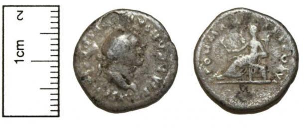 A silver Denarius of Vespasian, AD69-79.