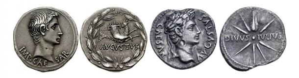 Left: Augustus silver denarius with Capricorn c. 16 BC courtesy of A. Marinescu, Vilmar Numismatics LLC Right: Augustus silver denarius with comet tail pointing upwards 19-18 BC courtesy of Roma Numististics