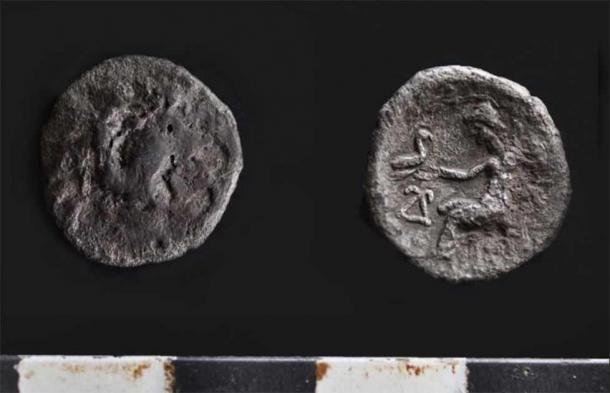 A silver coin of the Alexander type, presumably from the time of the co-reign of Antiochus I and Seleucus I, ca. 295-280. (Institute of Archaeology RAS)