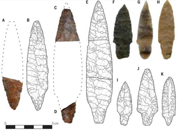 The similarity between stone artifacts unearthed at Native American archaeological sites in the United States (A, C, F, G and H) and artifacts from the Jomon hunter-gatherers from Japan (B, D, E, I, J and K) led archaeologists to believe that Native American Origins lay in Japan. (Davis et. al. / Science)