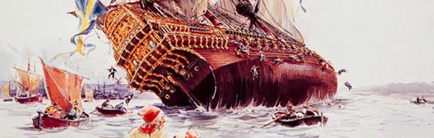 The sinking of the Vasa Ship.