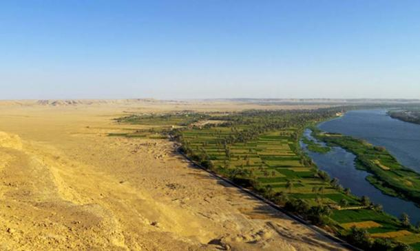 The site of Amarna viewed from the desert cliffs to the north of the city.