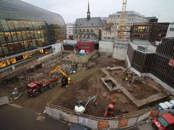 The site of the Roman library. (Hi-flyFoto/Roman-Germanic Museum of Cologne)