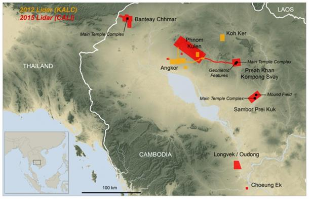 Map of the sites with an inset of the Southeast Asian region