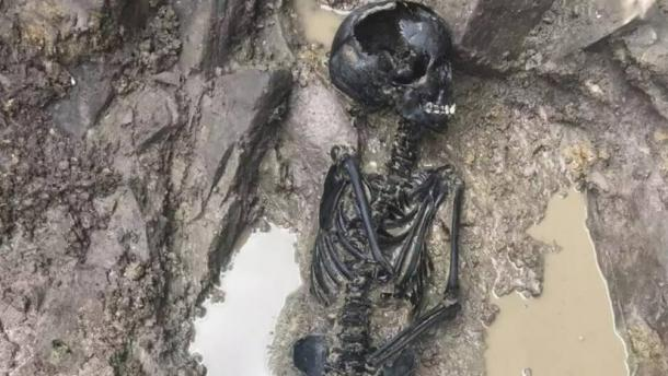 The skeleton was discovered to be that of a child aged between 10 and 12 years of age - most likely a boy