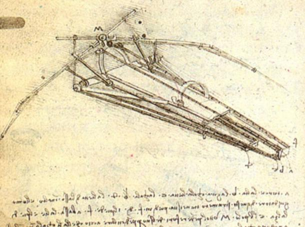 A sketch by Leonardo da Vinci showing one of his envisioned flying machines.