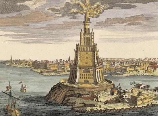 17th century sketch of the Pharos of Alexandria