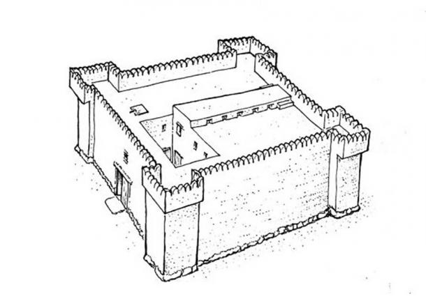A sketch of a 3,200-year-old citadel unearthed near Guvrin Stream and Kibbutz Gal On